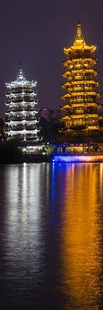 Gold and Silver Pagoda Evening Light, Guilin, China