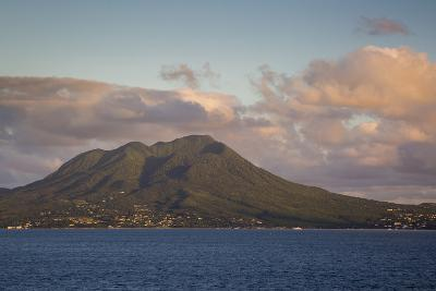 Setting Sunlight over Island of Nevis, Lesser Antilles, West Indies