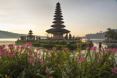 Indonesia, Bali. Sunrise, Ulun Danu Temple in Lake Bratan