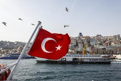 Turkish Flag, Passenger Ferry and Seagulls, Istanbul, Turkey
