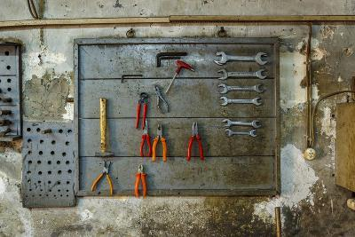 Tools on Wall in Old Repair Shop in Persembe Pazar, Istanbul, Turkey