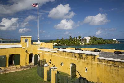 Flag at Fort Christiansvaern, St Croix, Us Virgin Islands, West Indies