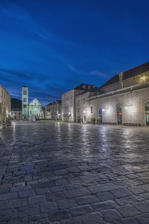 Croatia, Dalmatia, Hvar, St. Stephen's Square at Dawn