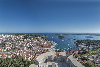 Croatia, Dalmatia, Hvar, Hvar Town and Castle from Hvar Castle