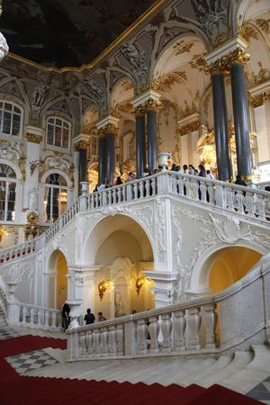 The Main Staircase of the Winter Palace in St. Petersburg, Russia