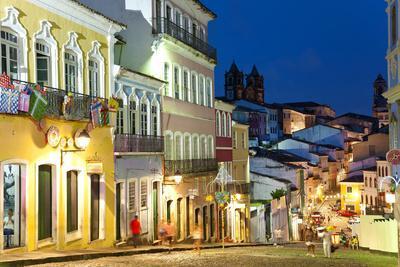 Colonial Centre at Dusk, Pelourinho, Salvador, Bahia, Brazil