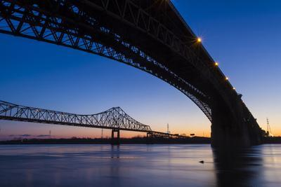 Bridges over the Mississippi River at Dawn in St. Louis, Missouri