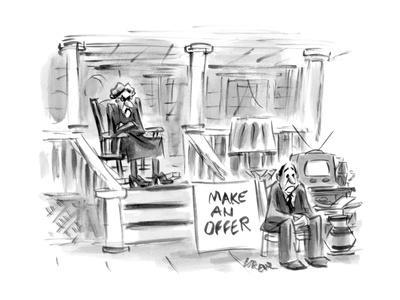 A woman sitting on a porch is selling her husband along with other things ? - New Yorker Cartoon