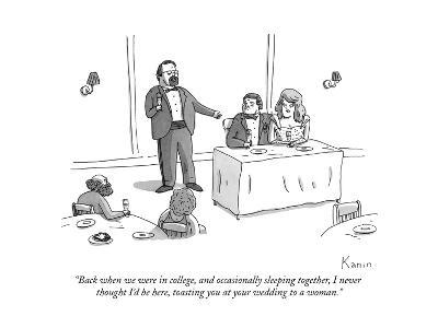 """Back when we were in college, and occasionally sleeping together, I never?"" - New Yorker Cartoon"