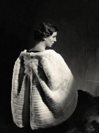 Princess Marina of Greece Wearing Ermine Cape and Velvet Gown by Molyneux