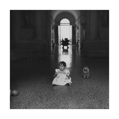 Diamente Buschetti and Her Dog in the Great Hall of the Villa Maser
