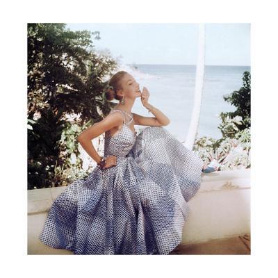 Mrs. John Pringle Wearing a Blue Print Summer Dress by Sophie Original in Onondaga Silk