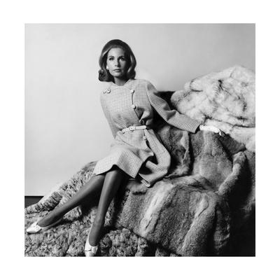 Mrs. Alfred Gwynne Vanderbilt Wearing Belted Tweed Coat by Mainbocher