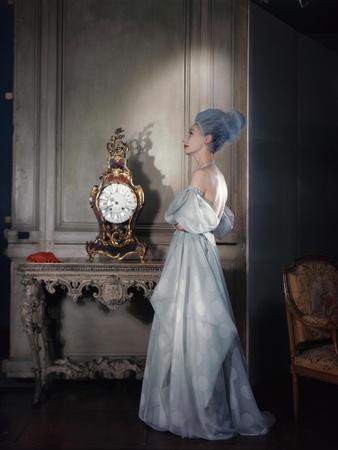 Mme. Valentina Wearing a Strapless Dress