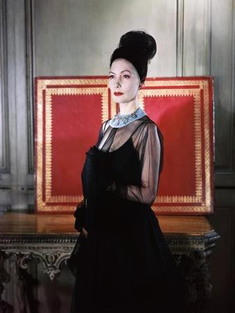 Mme. Valentina Sporting a Coiffure of Black Tulle of Her Own Design