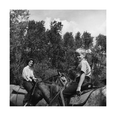 Mrs. William Paley and Her Son Tony Mortimer Riding Horses at Deer Creek Ranch