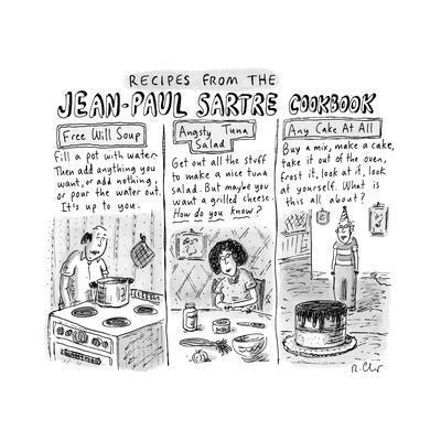 Jean-Paul Sartre Cookbook - New Yorker Cartoon