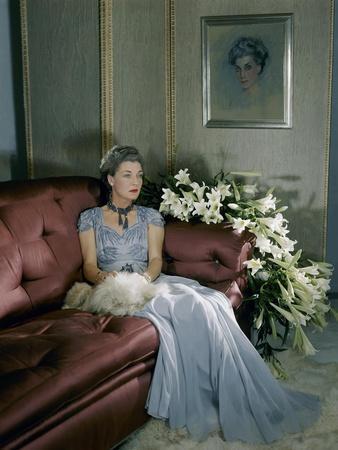 Mrs. Harrison Williams (Aka Mona Bismark) in Evening Gown Wearing Jewelry