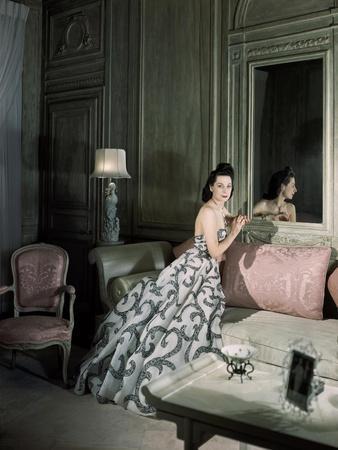 Mrs. Byron C. Foy Wearing Floating Dress