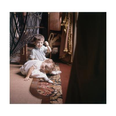 The Pucci Children Playing on the Floor of the Empire Room of the Florentine Palazzo