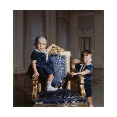 Alessandro and Laudomia Pucci Posing in Blue Velvet Outfits