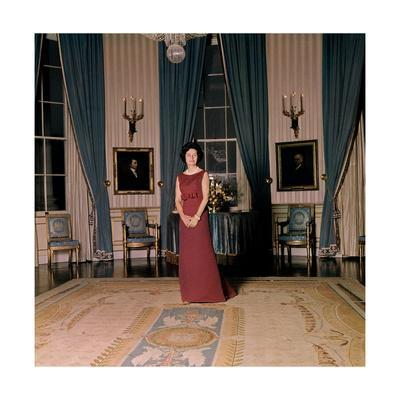 Lady Byrd Johnson Standing in the Blue Room of the White House
