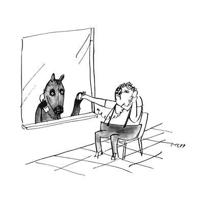 A man and a horse speak through a prison visiting glass window. - New Yorker Cartoon