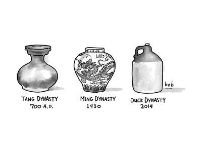 Three vases from various epochs -- Tang Dynasty, Ming Dynasty, Duck Dynast - New Yorker Cartoon