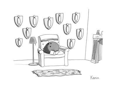 A bowling ball sits in a chair, reading a book, in front of a wall of moun... - New Yorker Cartoon