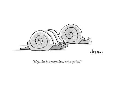 One snail pulls slightly ahead of a few other snails.  - New Yorker Cartoon