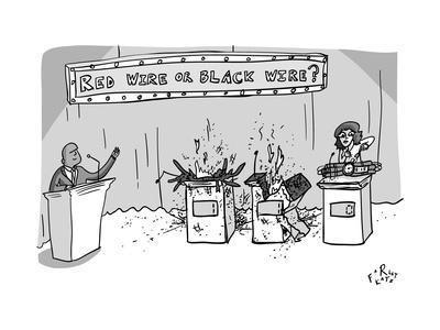 """A Game Show called """"Red Wire or Black Wire"""" showing two exploded contestan... - New Yorker Cartoon"""