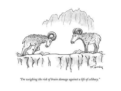 """""""I'm weighing the risk of brain damage against a life of celibacy."""" - New Yorker Cartoon"""