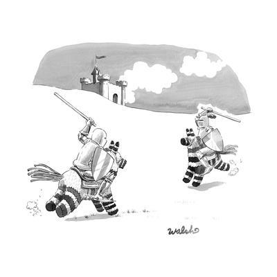 Two Medieval knights joust on pinatas. - New Yorker Cartoon