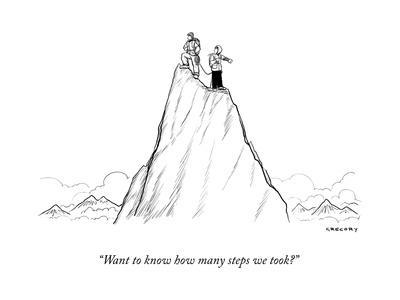"""""""Want to know how many steps we took?"""" - New Yorker Cartoon"""