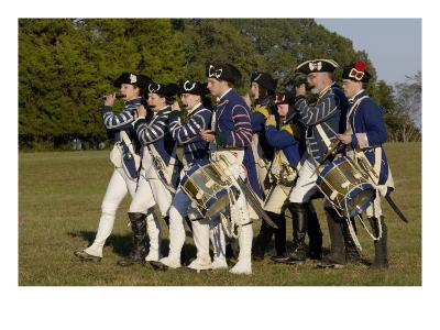 Loyalist Colonials Marching in a Reenactment on the Yorktown Battlefield, Virginia