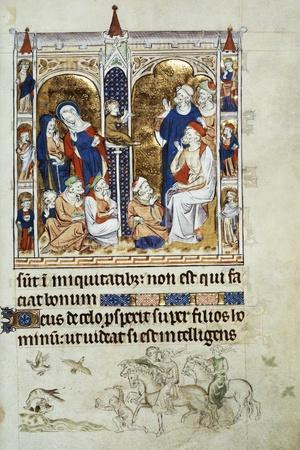 Jesus Among the Doctors, Miniature from Queen Mary's Psalter, Psalter Belonging to Mary I