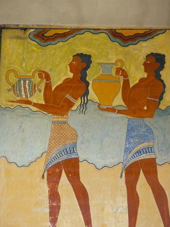 Mural Paintings, Corridor of the Procession, Minoan, Knossos, Island of Crete, Greece