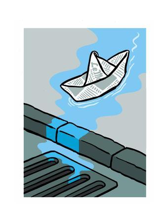 A newspaper floats toward the gutter - Cartoon
