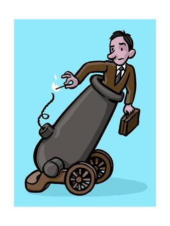 A man is set to shoot himself off to work - Cartoon