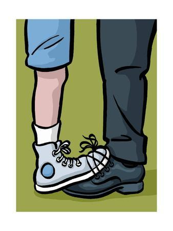 A youth and adult with their shoes tied together - Cartoon