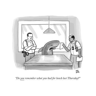 """""""Do you remember what you had for lunch last Thursday?"""" - New Yorker Cartoon"""