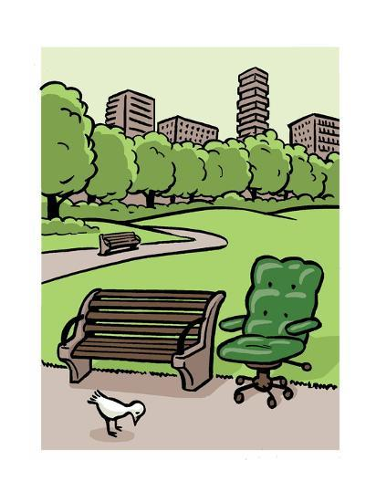 A Office Chair Sits In The Park Cartoon