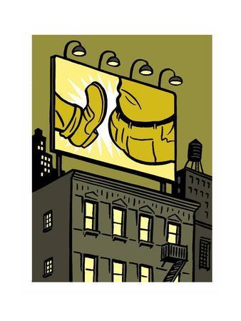 A billboard depicts a butt kick - New Yorker Cartoon