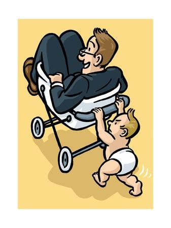 A baby begrudgingly pushes his father in a stroller. - Cartoon
