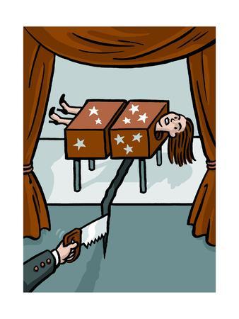 A magician saws through a woman and the floor - Cartoon
