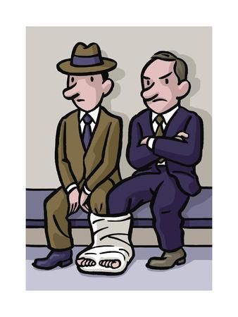 Two men share a cast - Cartoon