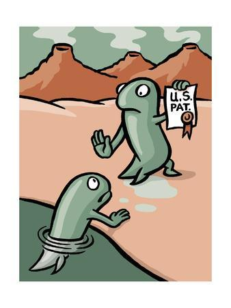 A fish patents evolution - Cartoon
