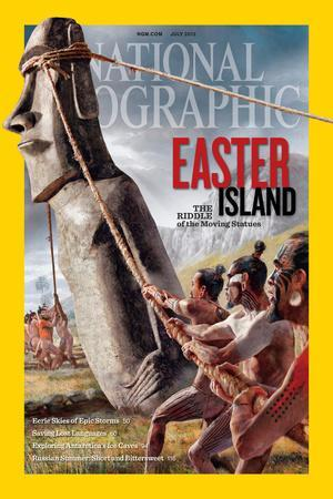 """Ancient Easter Islanders Used Ropes to """"Walk"""" the Moai Statues. Ngm July 2012 Cover"""
