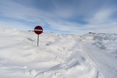 A Snow-Covered Road in a White Landscape