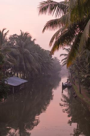 Sunset Creates a Beautiful Pink Hue in the Backwaters